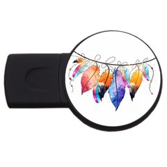Watercolor Feathers Usb Flash Drive Round (4 Gb) by LimeGreenFlamingo