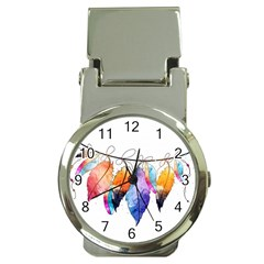 Watercolor Feathers Money Clip Watches by LimeGreenFlamingo