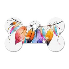 Watercolor Feathers Dog Tag Bone (two Sides)