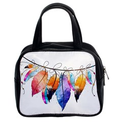 Watercolor Feathers Classic Handbags (2 Sides) by LimeGreenFlamingo