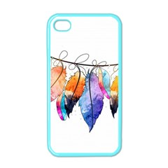 Watercolor Feathers Apple Iphone 4 Case (color) by LimeGreenFlamingo