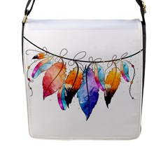 Watercolor Feathers Flap Messenger Bag (l)  by LimeGreenFlamingo