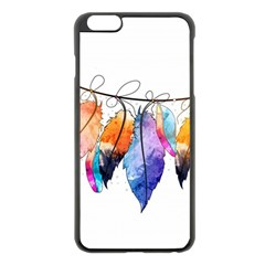 Watercolor Feathers Apple Iphone 6 Plus/6s Plus Black Enamel Case by LimeGreenFlamingo