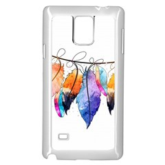 Watercolor Feathers Samsung Galaxy Note 4 Case (white) by LimeGreenFlamingo
