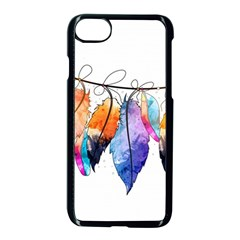 Watercolor Feathers Apple Iphone 7 Seamless Case (black) by LimeGreenFlamingo