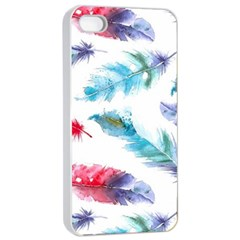 Watercolor Feather Background Apple Iphone 4/4s Seamless Case (white) by LimeGreenFlamingo