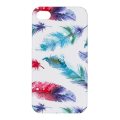 Watercolor Feather Background Apple Iphone 4/4s Premium Hardshell Case by LimeGreenFlamingo