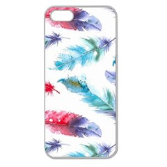 Watercolor Feather Background Apple Seamless Iphone 5 Case (clear) by LimeGreenFlamingo