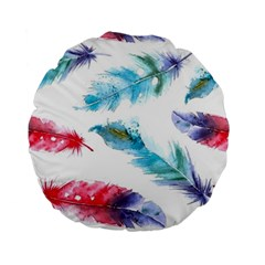 Watercolor Feather Background Standard 15  Premium Round Cushions by LimeGreenFlamingo