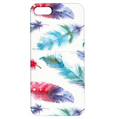 Watercolor Feather Background Apple Iphone 5 Hardshell Case With Stand by LimeGreenFlamingo