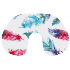Watercolor Feather Background Travel Neck Pillows by LimeGreenFlamingo