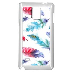Watercolor Feather Background Samsung Galaxy Note 4 Case (white) by LimeGreenFlamingo