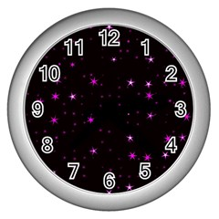 Awesome Allover Stars 02d Wall Clocks (silver)