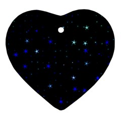 Awesome Allover Stars 02 Heart Ornament (two Sides) by MoreColorsinLife