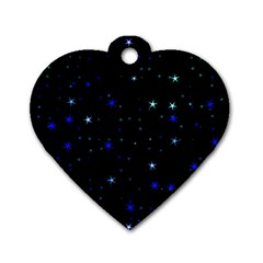 Awesome Allover Stars 02 Dog Tag Heart (one Side) by MoreColorsinLife