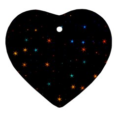 Awesome Allover Stars 02e Heart Ornament (two Sides) by MoreColorsinLife