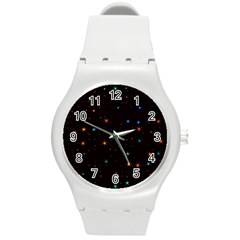 Awesome Allover Stars 02e Round Plastic Sport Watch (m) by MoreColorsinLife