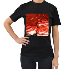 Nice Rose With Water Women s T Shirt (black) (two Sided)