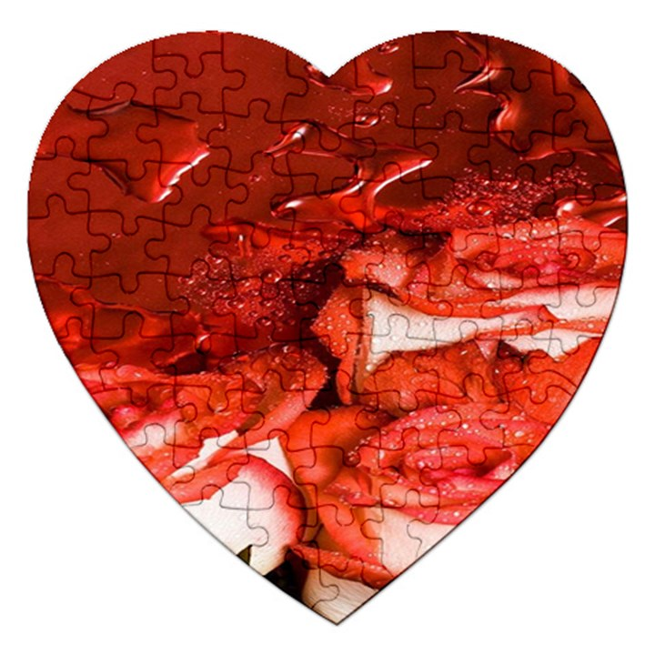 Nice Rose With Water Jigsaw Puzzle (Heart)