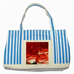 Nice Rose With Water Striped Blue Tote Bag by BangZart