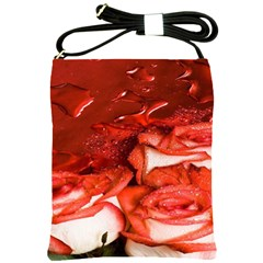 Nice Rose With Water Shoulder Sling Bags by BangZart