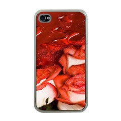 Nice Rose With Water Apple Iphone 4 Case (clear)