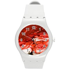 Nice Rose With Water Round Plastic Sport Watch (m)
