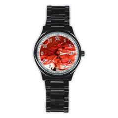 Nice Rose With Water Stainless Steel Round Watch