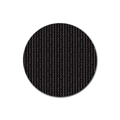 Dark Black Mesh Patterns Rubber Coaster (round)