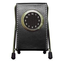 Dark Black Mesh Patterns Pen Holder Desk Clocks by BangZart
