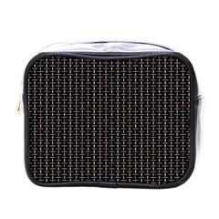 Dark Black Mesh Patterns Mini Toiletries Bags by BangZart