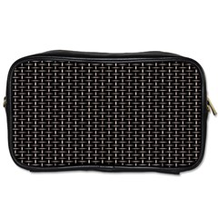 Dark Black Mesh Patterns Toiletries Bags 2 Side