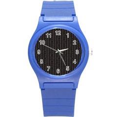 Dark Black Mesh Patterns Round Plastic Sport Watch (s) by BangZart