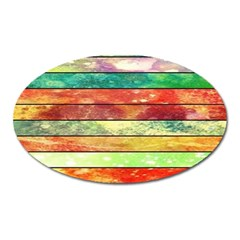 Stripes Color Oil Oval Magnet by BangZart