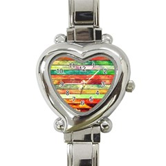 Stripes Color Oil Heart Italian Charm Watch by BangZart