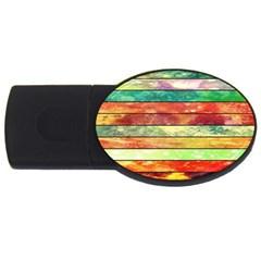 Stripes Color Oil Usb Flash Drive Oval (4 Gb)