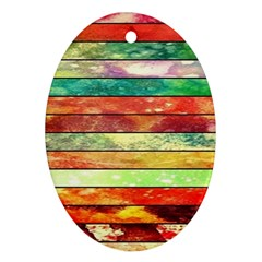 Stripes Color Oil Oval Ornament (two Sides) by BangZart