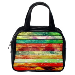 Stripes Color Oil Classic Handbags (one Side)