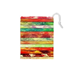 Stripes Color Oil Drawstring Pouches (small)  by BangZart