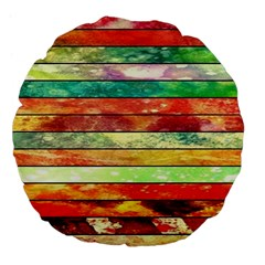 Stripes Color Oil Large 18  Premium Flano Round Cushions by BangZart