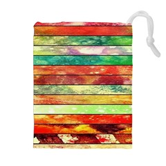 Stripes Color Oil Drawstring Pouches (extra Large) by BangZart