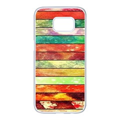 Stripes Color Oil Samsung Galaxy S7 Edge White Seamless Case