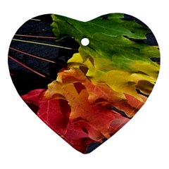 Green Yellow Red Maple Leaf Ornament (heart)