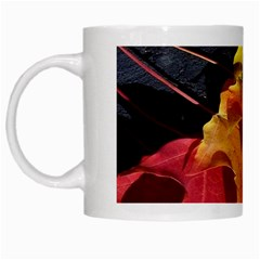 Green Yellow Red Maple Leaf White Mugs