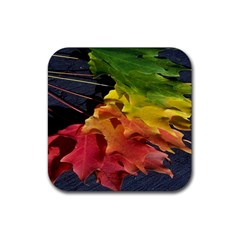Green Yellow Red Maple Leaf Rubber Square Coaster (4 Pack)  by BangZart