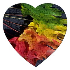 Green Yellow Red Maple Leaf Jigsaw Puzzle (heart) by BangZart