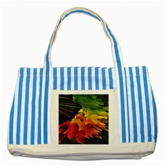Green Yellow Red Maple Leaf Striped Blue Tote Bag by BangZart