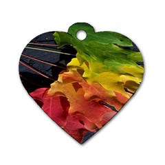 Green Yellow Red Maple Leaf Dog Tag Heart (one Side) by BangZart