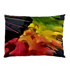 Green Yellow Red Maple Leaf Pillow Case