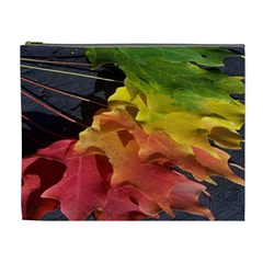 Green Yellow Red Maple Leaf Cosmetic Bag (xl) by BangZart